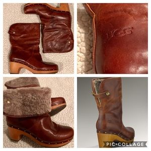 UGG Lynnea Sherpa-lined Leather Boots - 9